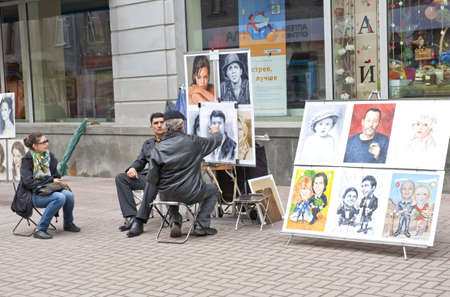 Street artist in Moscow Russia, taken on April 2012 Editorial