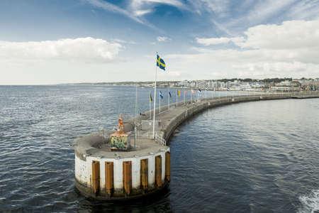The view on Helsingborg harbor, Sweden  Taken on August 2012  Editorial