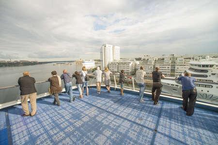 Passangers of cruise ship arrive in Stockholmi, Sweden  Taken on July 2012