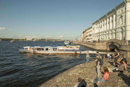 The boats on the Neva river in Sank Petersburg, Russia  Taken on September 2012