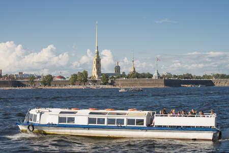 The boat on the Neva river in Sank Petersburg, Russia  Taken on September 2012