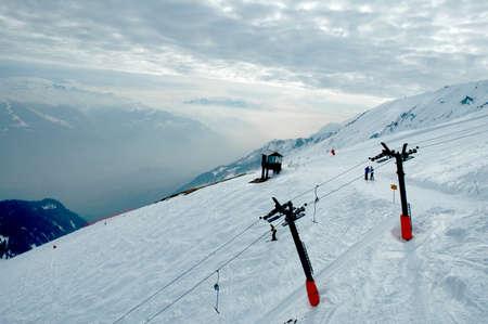 Ski resort near Sion,Valley, Switzerland - March 2007  Ski elevator  Stock Photo