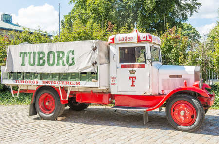 carlsberg: Copenhagen, Denmark - August 2012   Tuborg retro promo car in Carlsberg museum  Editorial