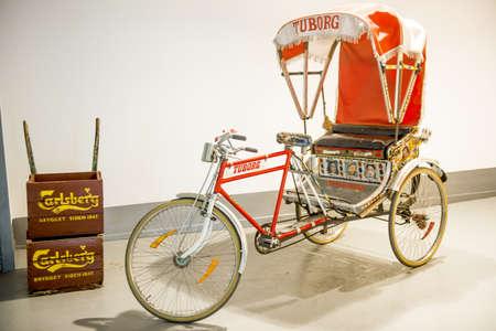 Carlsberg museum, Copenhagen, Denmark - August 2012  Rickshaw bicycle for beer promontion