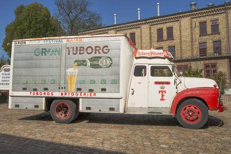 Copenhagen, Denmark - August 2012   Tuborg retro promo car in Carlsberg museum  Editorial
