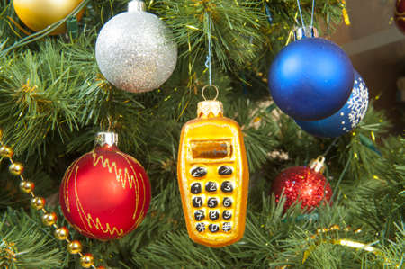 Christmas tree decoration with nice toys and balls.