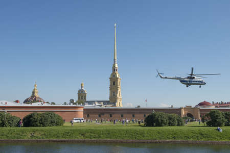 Helicopter take-off in the Peter and Paul Fortress in Sankt Petersburg, Russia  August 2012