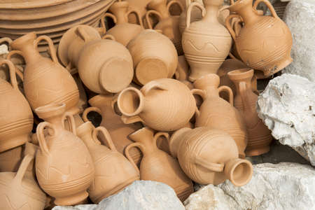Greece ceramic pots in the gifts shop in Crete  Stock Photo