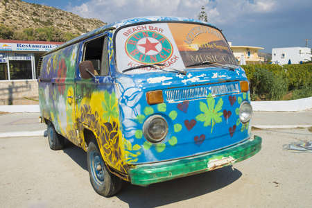 The vintage bus painted by hippie, Matala, Crete, Greece - October 2012  Editorial