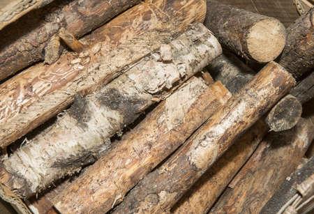kindling: Birch firewood for a kindling of the Finnish sauna.