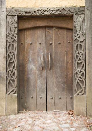 A danish medieval door of a viking house. Taken in a danish viking museum.