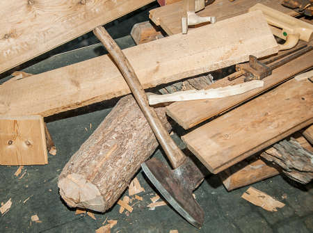 carpenter tools and wood on background