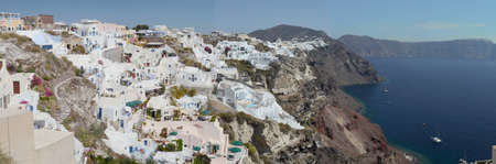 Panorama of Fira city in Santorini island, Greece.