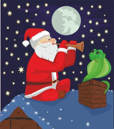 a snake in a bag: Fakir Santa Claus