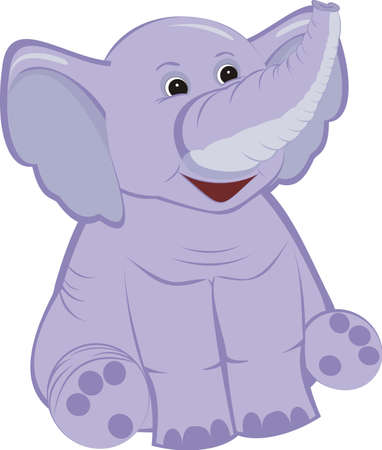 big smile: An illustration of a cute lilac elephant calf, isolated on a white background Illustration