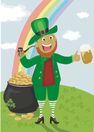 Leprechaun with a pipe and beer against a rainbow and pot of gold