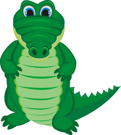 Green funny crocodile with a long tail