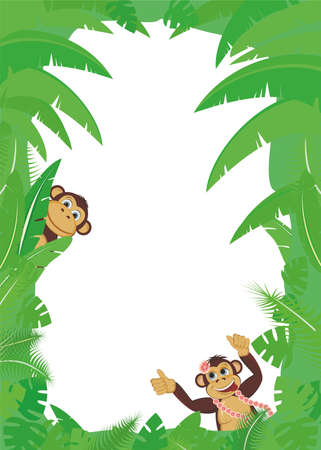 Frame from tropical leaf with two monkey