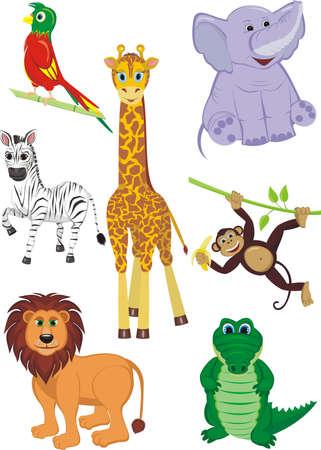 7 つのかわいいサファリ動物 - キリン、ワニ、シマウマ、象、オウム、ライオンおよび猿の漫画イラスト