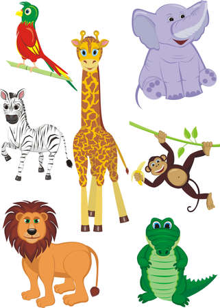 Cartoon illustration of seven cute safari animals - Giraffe, Crocodile, Zebra, Elephant, Parrot, Lion and Monkey
