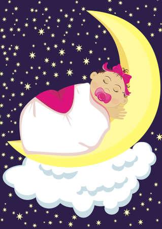 Little girl sleeping on the moon Illustration