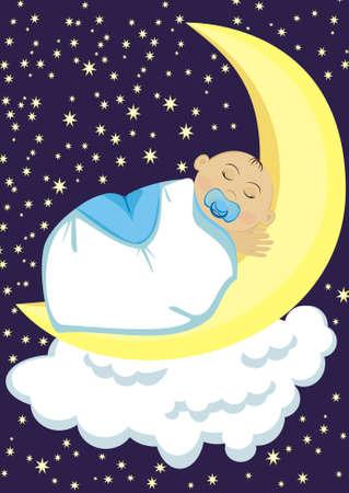 Baby sleeping on the moon Illustration