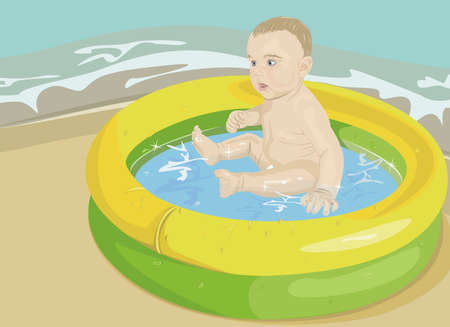 The child in inflatable pool on seacoast