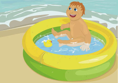 seacoast: The child in inflatable pool on seacoast