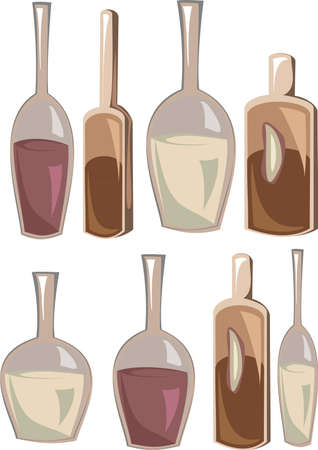 Illustration Bottles with Various alcoholic drinks, icons isolated on white background