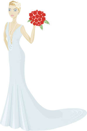 Happy beautiful young bride with bouquet Ilustrace