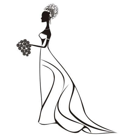 Beautiful bride with floral dress and veil Vector