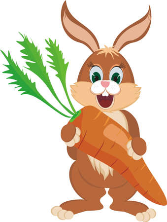 A happy rabbit with a giant carrot Stock Vector - 21328279
