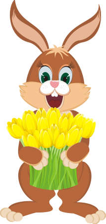 Brown rabbit with bunch of lovely bright yellow spring tulips