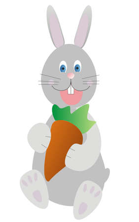 Gray rabbit with carrots on a white background Illustration
