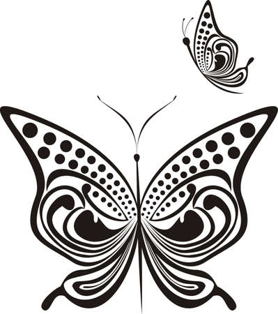 Abstract fancy butterfly isolated on a white background  Vector illustration  Illustration