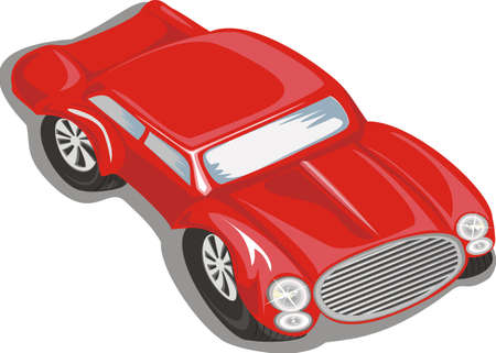 Red sports car isolated on a white background