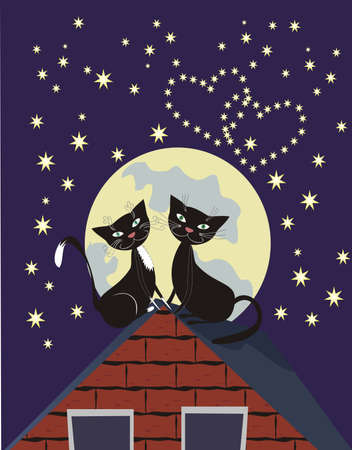 Two black cats on a roof at a moonlight
