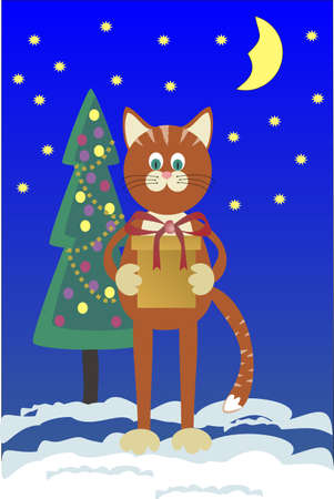 Orange cat with a gift about a Christmas tree against the star sky