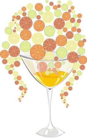 lemon lime: Cocktail con l'arancio, limone, lime e pompelmo