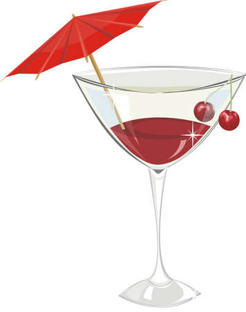 Cocktail with a cherry and a decorative umbrella isolated on a white background