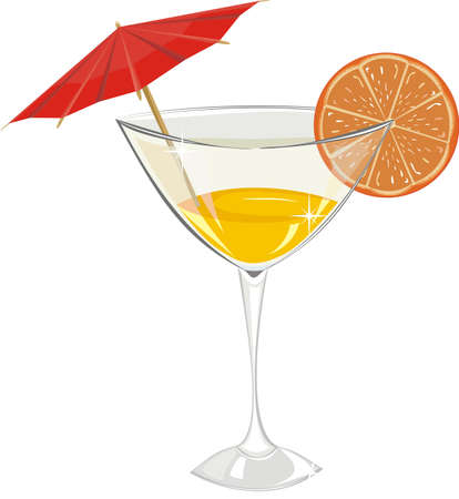 Cocktail with orange and a decorative umbrella isolated on a white background