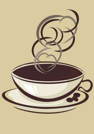 demitasse: Coffee cup and coffee beans Illustration
