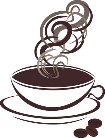 coffee beans white background: Coffee cup and coffee beans Illustration
