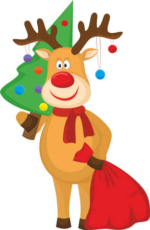 Deer with a Christmas fur-tree and a bag of gifts Illustration