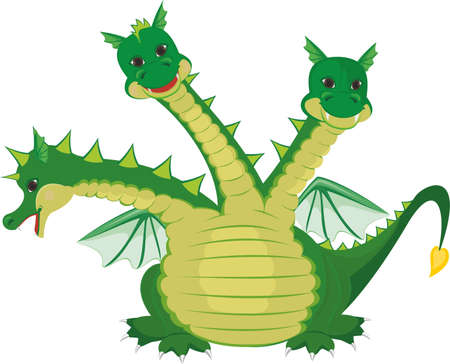 three colors: Cute three headed dragon