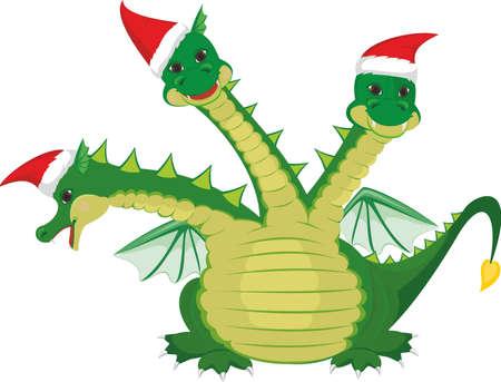 dinosaurio caricatura: Lindo tres cabezas de dragón Vectores