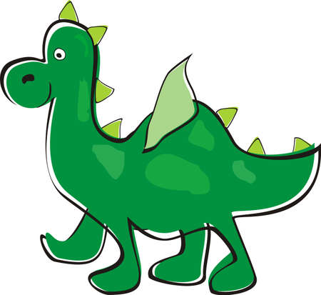 Green dragon  Children s drawing Vector