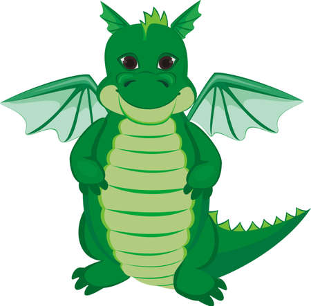 Green funny dragon Vector