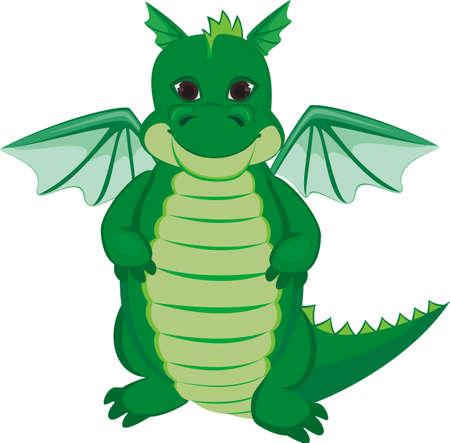 Green funny dragon