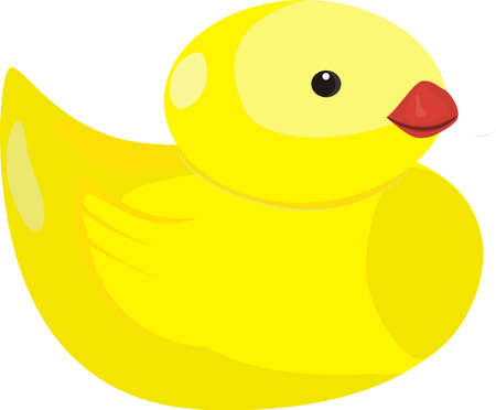Yellow rubber duck isolated on white background Illustration